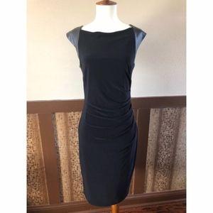 Anne Klein Sexy Little Black Dress w/Faux Leather